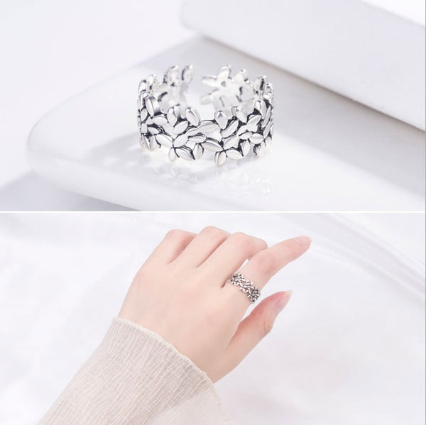 925 silver fashion flower style women's ring ring size can be adjusted