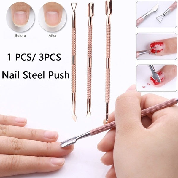 1 Pcs/ 3 Pcs Stainless Steel Cuticle Remover Double Sided Finger Dead Skin Push UV Gel Polish Remover Nail File Manicure Art Tool
