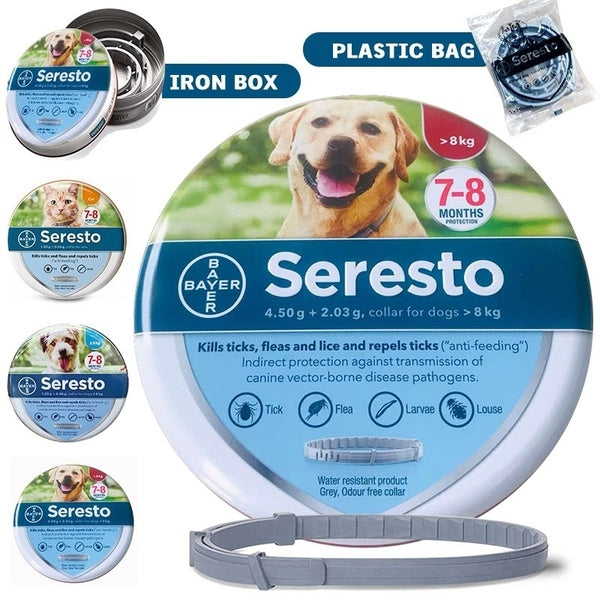 2019 New Look Seresto Flea & Tick Collar for Large Dogs, Small Dogs and Cats, All Weights, 8 Month Protection
