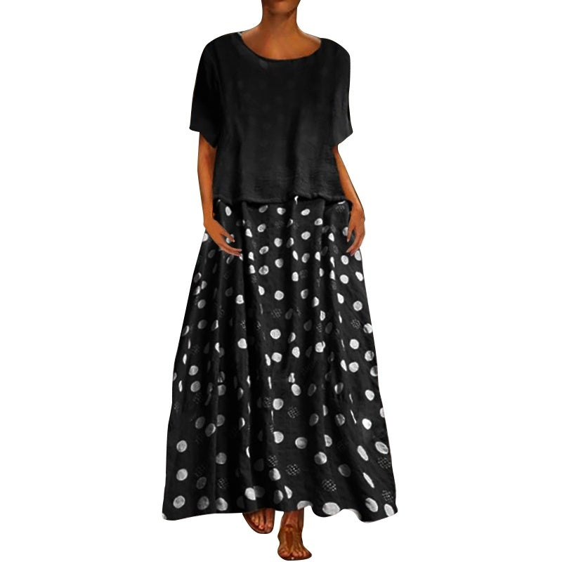 Plus Size Women's Casual O-Neck Short Sleeve Patchwork Polka Dot Maxi Dress Kaftan Shift Dresses