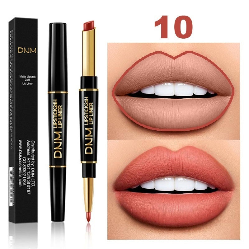 Sexy 2 In 1 Double-ended Lips Makeup pearl Matte Lipstick Long Lasting Waterproof Lipstick and Lip Liner Contour for Women Beauty