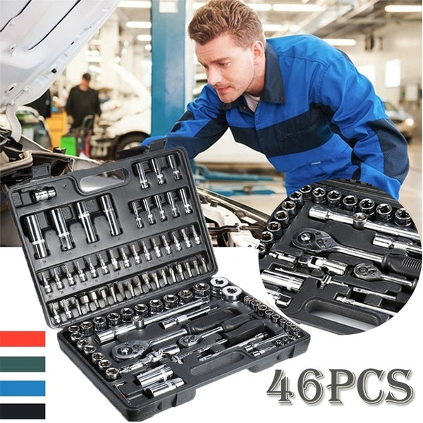 46Pcs 1/4 Inch Screwdriver Ratchet Wrench Set Kit Spanner Socket Set Car Repair Tools Combination Hand Tool