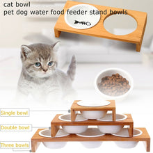 Load image into Gallery viewer, 1/2/3 pcs  Bamboo Pet Cat Feeding and Drinking Bowls Elevated Small Dog ceramics Stand Bowl