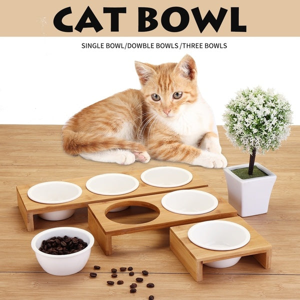 1/2/3 pcs  Bamboo Pet Cat Feeding and Drinking Bowls Elevated Small Dog ceramics Stand Bowl