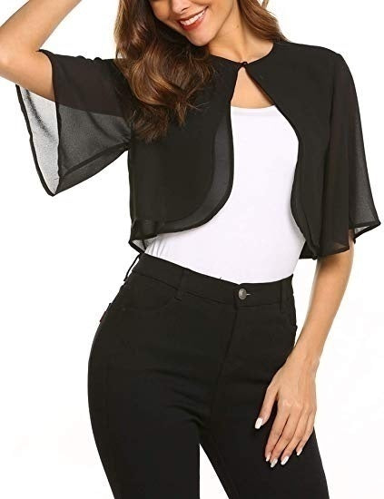 Women's Short Sleeve Cropped Chiffon Bolero Cardigan Casual Sheer Shrug Shawl