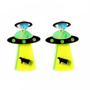 Personality Acrylic Geometric UFO Spaceship Flying Saucer Dangle Drop Earrings For Girl Women Jewelry 2019 New Arrival