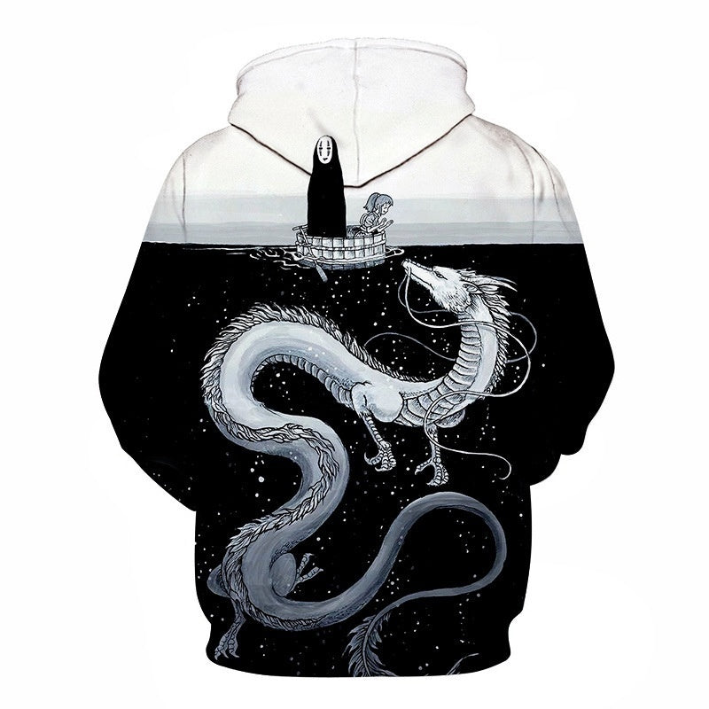2019 Spring and Autumn New Japanese Anime Spirited Away 3D Hooded Sweater Men's Sweater Ladies Jacket Street Wear