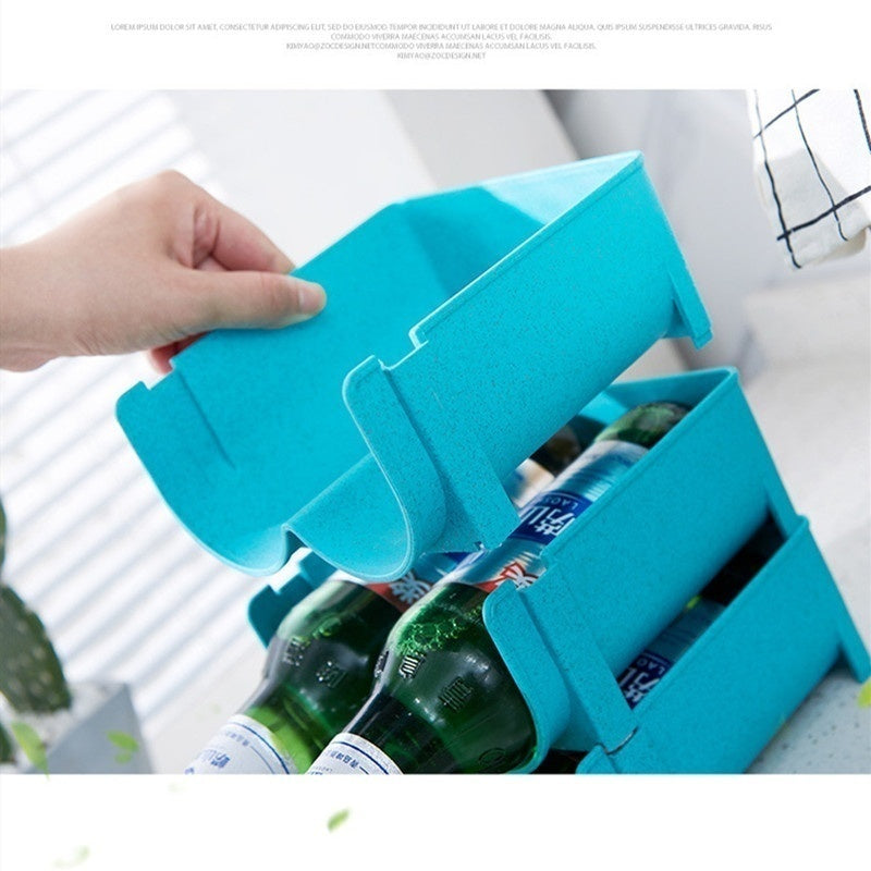 Kitchen Organizer Refrigerator Storage Box Refrigerator Beer Beverage Storage Box Cans Can Be Stacked Refrigerated Space-saving Storage Rack