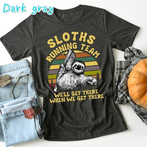 New Women's Fashion Sloths Funny Letter Print T Shirts Summer Casual Plus Size Short Sleeve Tops T Shirts