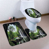 Natural Waterfall Shower Curtain Home Carpet Bathroom Decor Toilet Seat Cover+Pedestal+Bath Mat Rugs Set