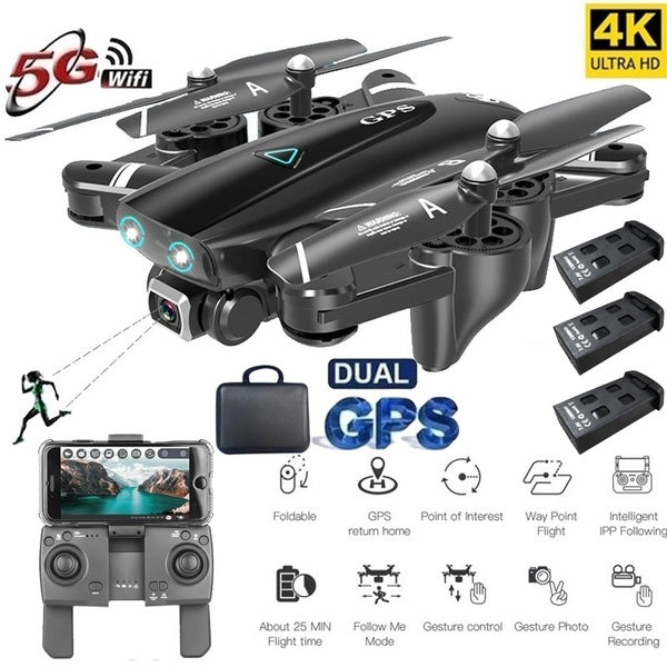 Newest Aerial Photography Foldable GPS Remote Control Drone Quadcopter UAV Toys with 1080P/4K HD FPV 120¡ã Wide-angle Camera + Optical Flow Positioning + V-Sign + Gesture Video + Real-time Transmission + Long-term Flight + Gravity Sensing