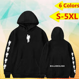 Fashion Unisex Long Sleeve Billie Eilish Dance Printed Hoodies Front Pocket Thin Fleece Pullover Hoodie Sweater Sweatshirt Jacket Plus Size S-5XL