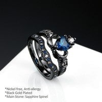 Charm Couple Ring 316L Stainless Steel Men''s Ring Black Gold Filled 6MM Blue Sapphire Women''s Wedding Ring Sets