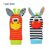 1 Pair Baby Infant Developmental Wrist Strap Foot Socks Rattle Bug Finders Toy