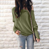 Autumn European and American women clothes, knitted oblique collar, shoulder-length Lantern Sleeve T-shirt and bat Long Sleeve tops