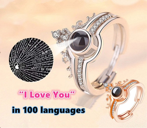 I love you' '100 languages ring 925 sterling silver 14K rose gold micro-carved projection ring romantic gift couple two-in-one diamond ring ladies jewelry anniversary promise gift bride engagement wedding ring