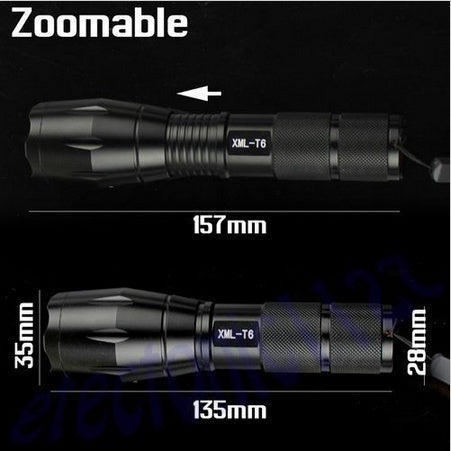XML-(L2) LED Torches Zoomable Tactical LED Flashlight Lamp (Color: Black)(No Battery) (Color: Black)