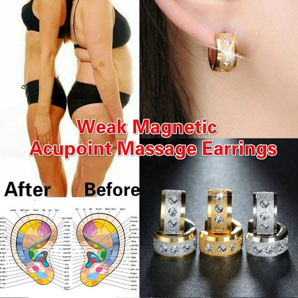 Fashion Grind Stainless Steel Healthcare Weight Loss Earrings Hand String Slimming Healthy Stimulating Acupoints Gallstone Earrings Magnetic Therapy Jewelry