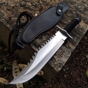 Wild Survival Fixed Blade Knife,Bowie Tactical Hunting Camping Knifes,w/Sheath