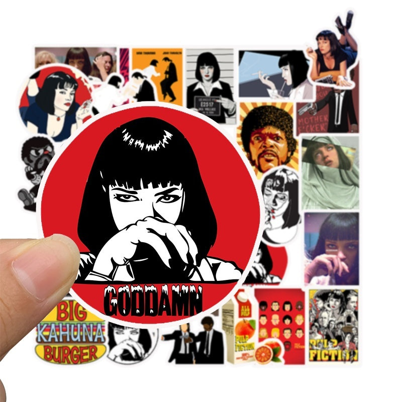 100pcs/pack Classic Movie Stickers Pulp Fiction/The shining/Kill Bill/Shameless/Edward Scissorhands/Django Unchained/Fight Club/The Godfather/Leon Graffiti Stickers for Luggage Car Moto Laptop Bicycle Skateboard Stickers