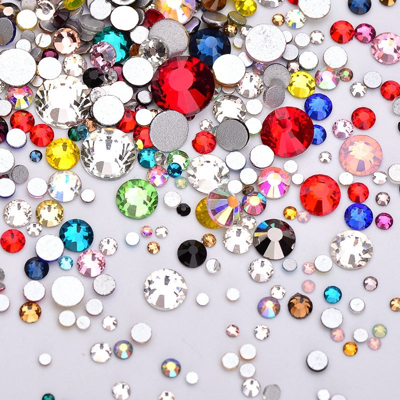 1000pcs Mix Size Mix Color Round Rhinestones Glass Crystal Applique Non Hotfix Flatback Strass Stones For Nail Art