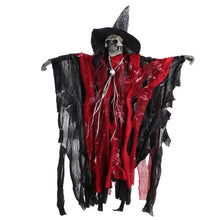 Load image into Gallery viewer, 1pc Lifelike Halloween Skeleton Decoration Props Scary Hanging with Sound Control Ornament