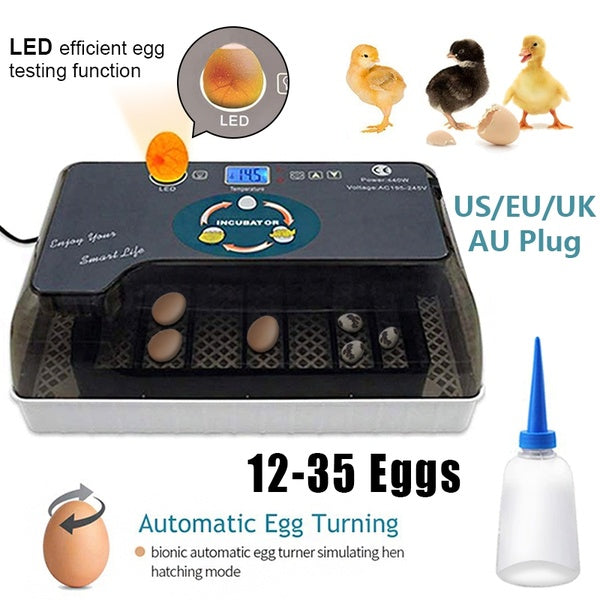 9-35 Eggs Egg Incubator Digital Egg Incubator Poultry Brooder Hatching with Automatic Egg Hatcher Turning Temperature and Humidity Control Home Farm for Chickens Ducks Goose Birds Quail