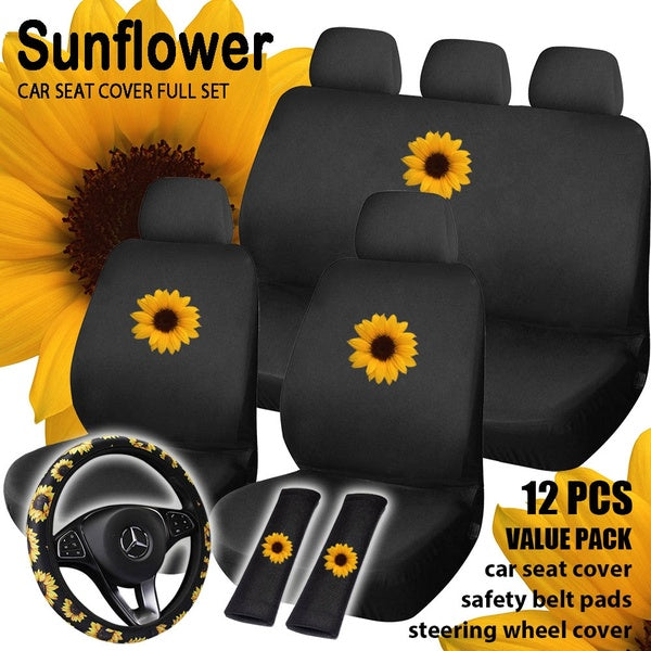 Sunflower 12pcs Full Set Value Pack Universal Car Cover Styling Automobile Interior Accessories Fashion Car Seat Cover