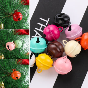 10pcs/lot  New 10pcs 22mm Colorful Iron Metal Jingle Bells Crafts Accessories Key Hanging Pet Pendants Xmas Tree Ornaments Christmas Decor