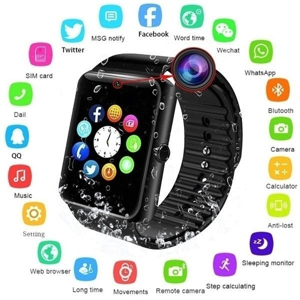 2019 New Bluetooth Smart Watch Touch Screen Wrist Watch with Camera/SIM Card,Waterproof Sports Fitness Tracker Apply to Android IPhone IOS for Kids Women Men (GT08)