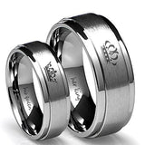 Her King His queen ring stainless steel jewelry couple jewelry Crown titanium steel ring
