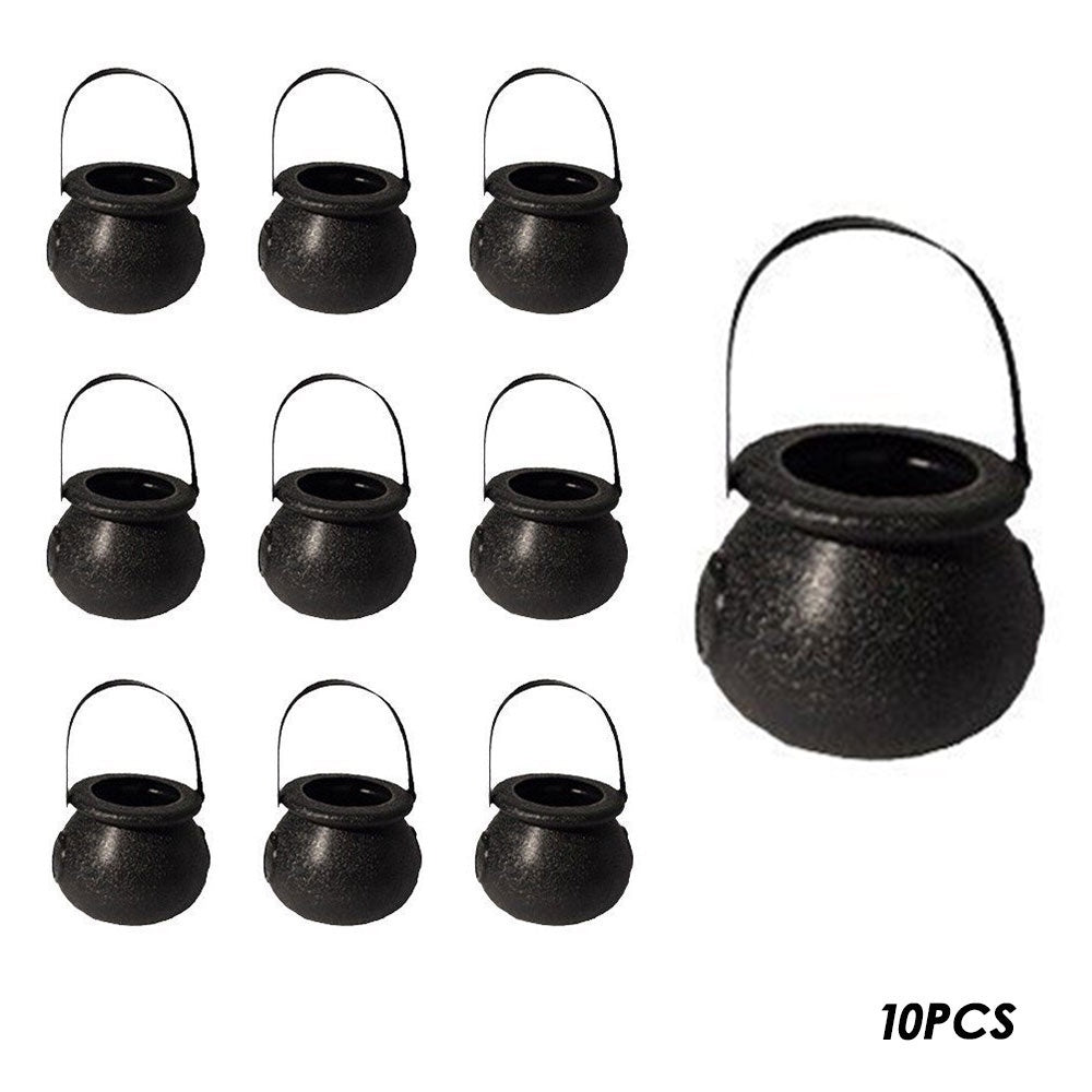 Halloween Candy Jar Black/White Candy Kettles Witch Cauldron Halloween Party Props