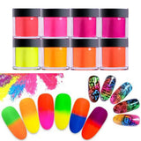 12 Colors New Women Fashion Beauty Nail Sculpture Florescent Dipping Powder Acrylic Crystal Neon Colors Dust Nail Extension Builder