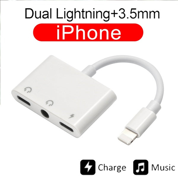 2019 New Dual 3.5mm Lighting Charging Headphone Jack Adapter 3 in 1 Audio Splitter Aux Cable with Microphone to Charger for iPhone 7 6 X 8 Plus XS Max XR