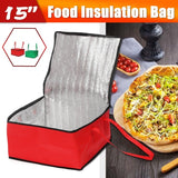 Waterproof Food Pizza Insulation Bag Heat Keeping Box Holder Outdoor Picnic Storage Bag 40x38x21cm