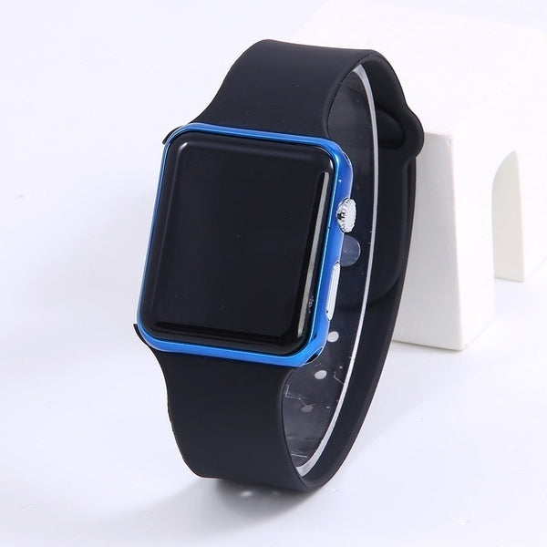 New Hot Square Mirror Face Silicone Band Digital Watch Red LED Watches Metal Frame WristWatch Sport Clock Hours