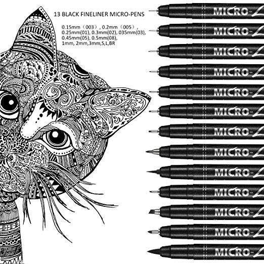 Micro-Line Ultra Fine Point Fineliner Ink Pens - Black Waterproof Archival ink Liner Pens, Artist Illustration, Office Documents, Scrapbooking, Technical Drawing, Manga, Sketching, 9/Set