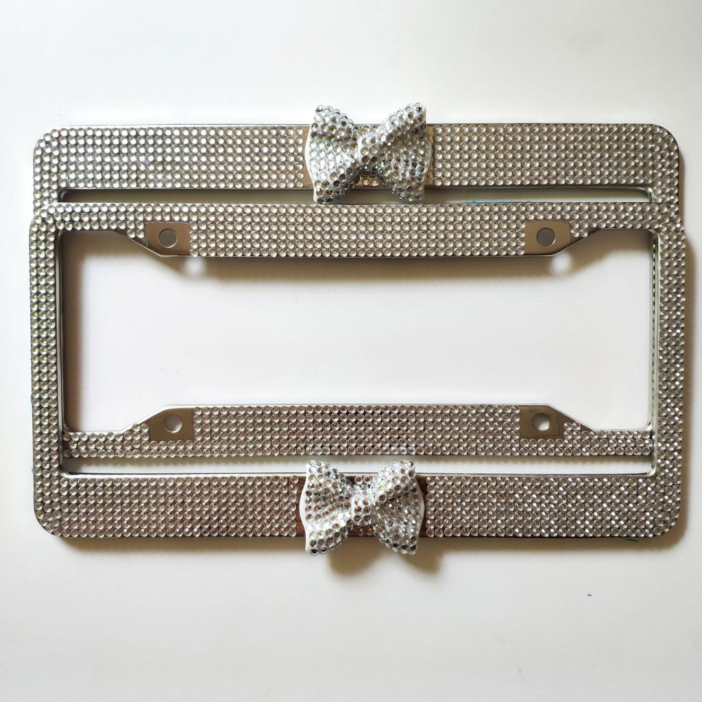 1 Pcs Luxury Handcrafted Bling Rhinestone Premium Stainless Steel License Plate Frame for US/CA
