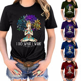 4 Colors Plus Size Summer Fashion Women Short Sleeve Yoga Graphic T-shirt Casual Cotton I Do What I Want Letter Print Bohemian Tee Shirt Yoga Top Blouse