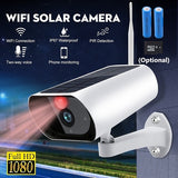 WIFI Solar Powered Wireless 1080P HD Surveillance Camera Outdoor Waterproof CCTV Night Vision Security Camera with PIR Detection Function,  Super Long Standby Time,TF Card Storage Not Include