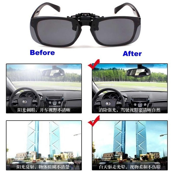 1X Clip-on Polarized Day Night Vision Flip-up Lens Driving Glasses Sunglasses