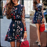 Fashion Women's Elegant Long Sleeve Tulle Gauze Multicolor Flower Floral Embroidery Vintage Long Dress
