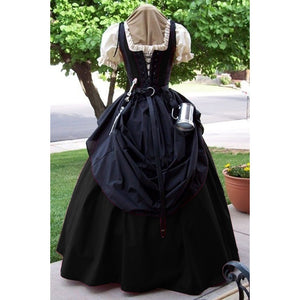 Plus Size S-5XL Women Medieval Bodice Gown Dress Short Sleeve Square Collar Renaissance Dress with Belt No Other Accessories