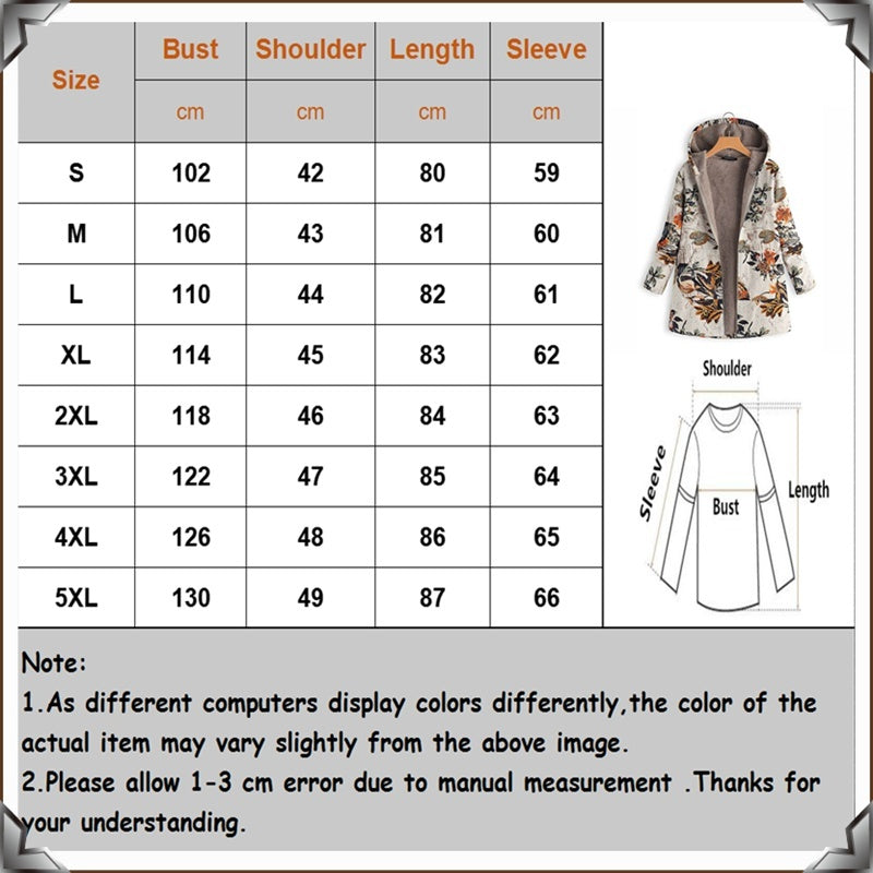 2019 Women's Leaves Floral Print Fluffy Fur Hooded Coat Winter Female Long Sleeve Vintage Coats Manteaux Dames Veste Femme Plus Size S-5XL