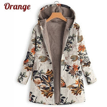 Load image into Gallery viewer, 2019 Women's Leaves Floral Print Fluffy Fur Hooded Coat Winter Female Long Sleeve Vintage Coats Manteaux Dames Veste Femme Plus Size S-5XL