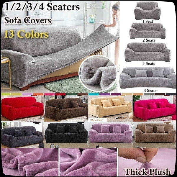 High Quality New Warm 1-4 Seaters Thick Plush Recliner Sofa Covers Retro Recliner Sofa Cover Soft Couch Slipcovers 13 Colors