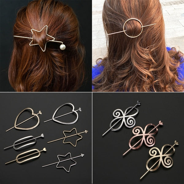 Viking Hair Accessories Vintage Knots Hairpins Antique Silver Metal Stick Slide Hair Clips Women Hair Accessories Jewelry