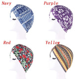 7 Colors Muslim Women Floral Printing Turban Hijab Cap Stretch Chemo Caps For Hair Accessories Head Scarf