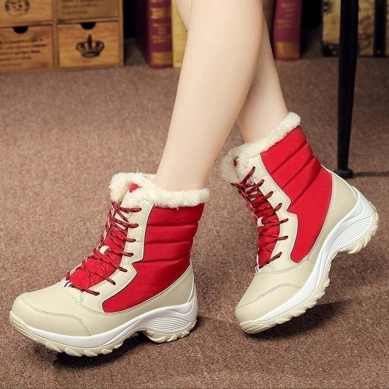 2019 Women Snow Boots Winter Warm Boots Thick Bottom Platform Waterproof Ankle Boots Plus Size 35-43