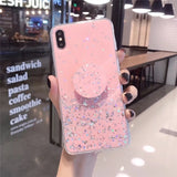 Anti-collision Flashing Phone Case with Convenient Phone Holder for IPhone X XS XR XS Max 6 6S 7 8 Plus